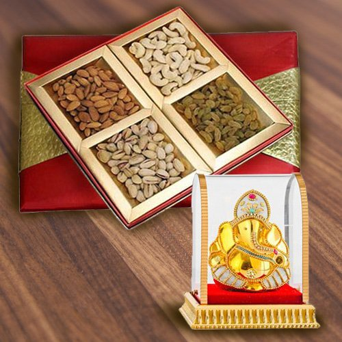 Luscious Mixed Dry Fruits Gift Box with Lord Ganesha
