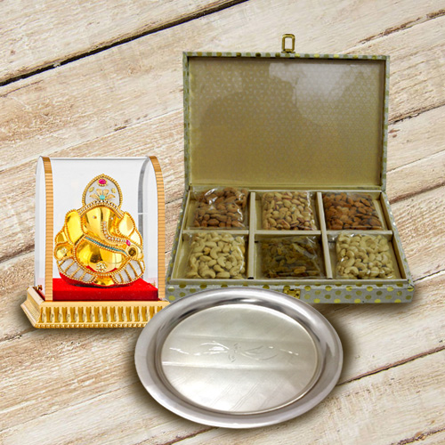 Designer Silver Plated Thali with Mixed Dry Fruits and Lord Vinayak