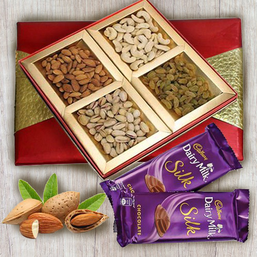 Delectable Gift Box of Dry Fruits Assortments with Chocolates
