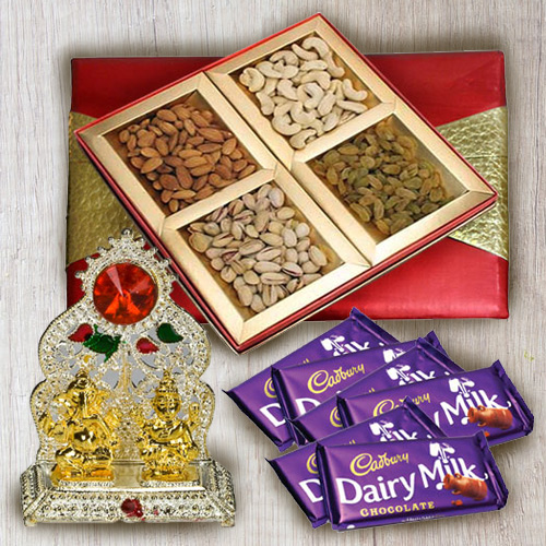 Exquisite Gift of Dry Fruits Assortments with Chocolates and Vinayaka Mandap