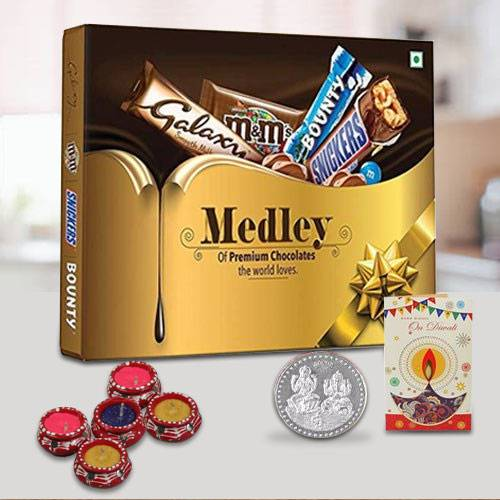 Luscious Chocolate Gift Hamper for Diwali with Free Diya N Coin