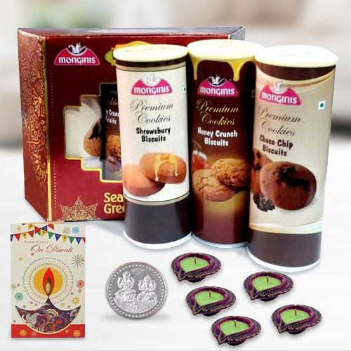 Monginis Cookies Trio with Diya n Card