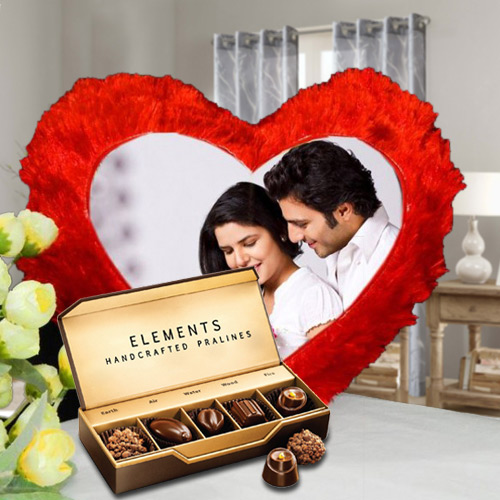 Exquisite ITC Chocolates with Heart Shape Personalized Cushion