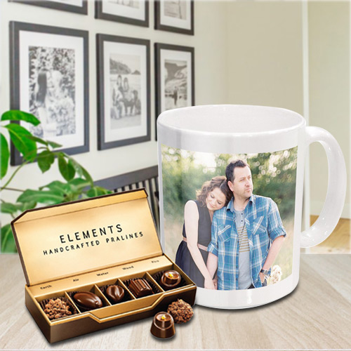 Beautiful Personalized Coffee Mug with Premium Chocolates from ITC