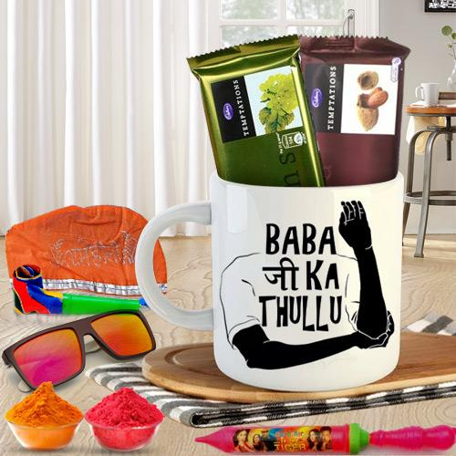 Fun Filled Funky Coffee Mug n Holi Chocolates Hamper