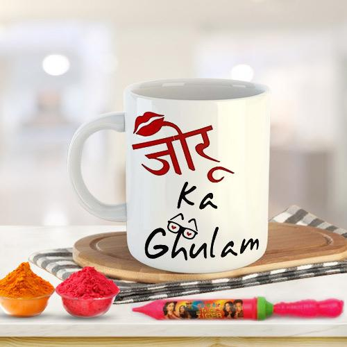 Exciting Holi Gift of Coffee Mug Set n Herbal Gulal
