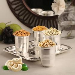 Delightful Silver Plated Glasses with Dry Fruits of 200 gms. and a 7 inch Tray