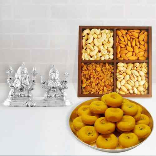 Dry Fruits with Ganesh Lakshmi Idol N Kesaria Pedas