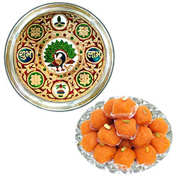 Tasty Treat of Haldiram Laddoo Along with Meenakari  Subh Labh Stainless Steel Thali