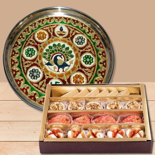 Lucky Holi Special Wishes with Subh Labh Stainless Steel Thali with Haldiram Assorted Sweets