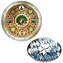 Wishes with Meenakari styled Subh Labh Stainless Steel Thali with Haldiram Kaju Katli