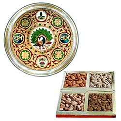 Happy Holi with Meenakari styled Subh Labh Stainless Steel Thali with Assorted Dry Fruits