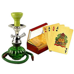 Hypnotic Collection of Hookah and Gold Plated Playing Cards