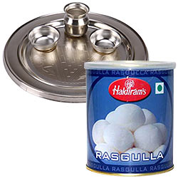 Delicious Haldiram Rasgulla with Silver Plated Puja Thali