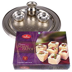 Silver Plated Puja Thali with Lip-smacking Soan Papdi