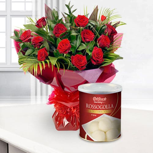Lovely Bouquet of Red Roses with Haldiram Rasgulla