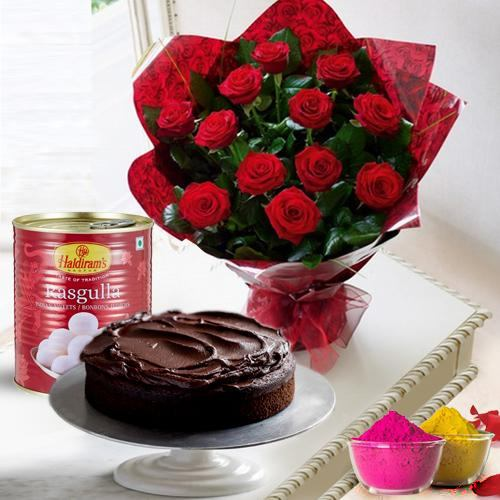 12 Gorgeous Red Roses and Haldiram Rasgulla with Eggless Cake