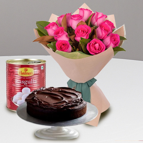 Red Roses with Haldirams Rasgulla N Eggless Cake