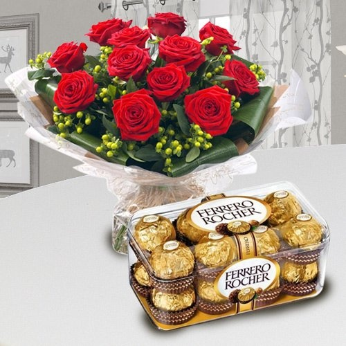 Ferrero Rocher with Red Roses Combo