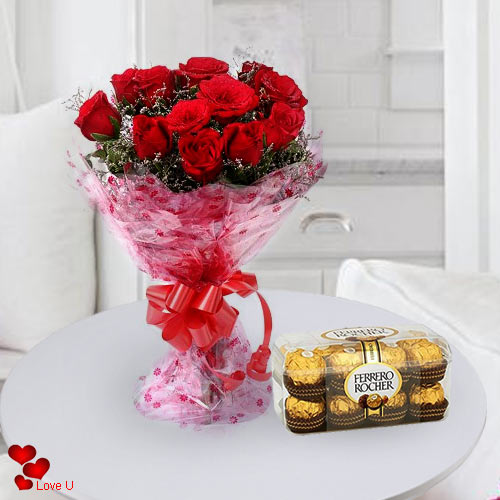 Amazing Red Roses with Yummy Chocolates