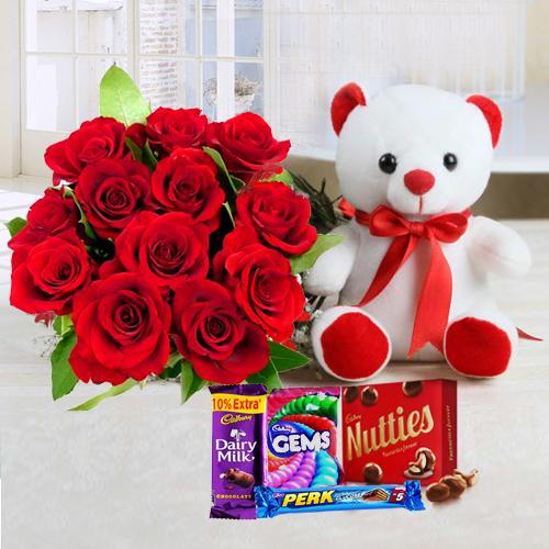 Red Rose Bouquet with Teddy N Chocolates