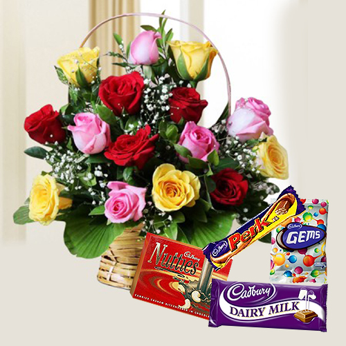 Mixed Roses Arrangement N Cadbury Celebrations Pack
