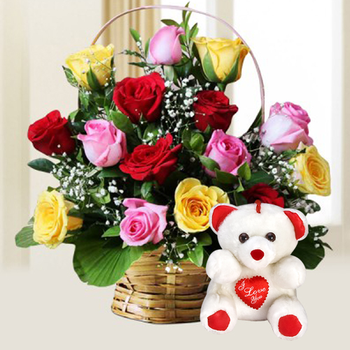 Teddy Bear with Mixed Roses Arrangement