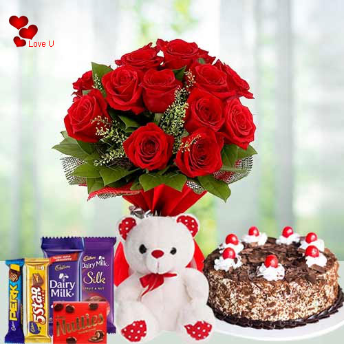 Wonderful Gift of Red Roses with Cake, Chocolates and Teddy