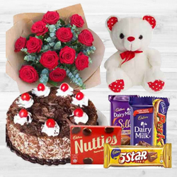 Buy Red Roses Bouquet with Cake, Assorted Cadbury N Teddy Online