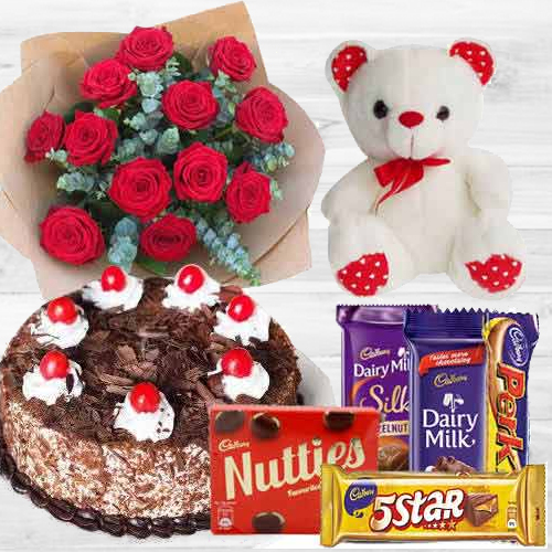 Dutch Roses with Teddy, Chocolates N Black Forest Cake