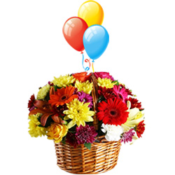 Flowers with Balloons Arranged in a Basket