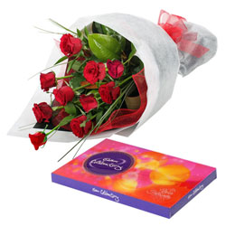 Red Roses Bunch N Cadbury Celebrations Pack