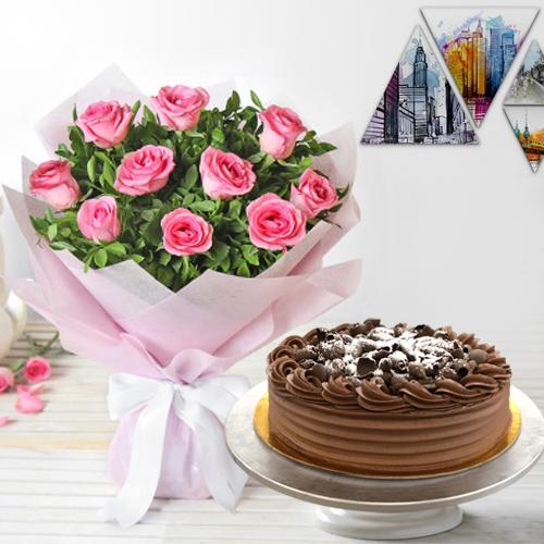 Eggless Chocolate Cake N Pink Roses