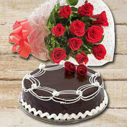 Order Online Red Roses N Chocolate Cake