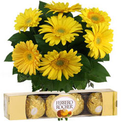 Ferrero Rocher Chocolates with Yellow Gerberas Bouquet