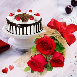 Buy Online Red Roses with Chocolate Cake