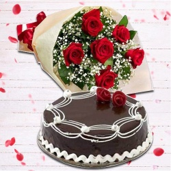 Radiant Red Rose Hand Bunch and Chocolate Cake