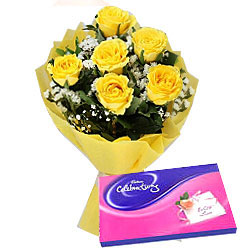 Cadbury Celebrations Pack N Yellow Roses Bunch