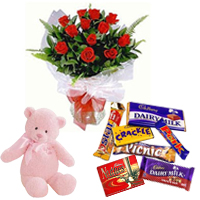 Red Rose Bouquet with Teddy N Cadbury Celebrations