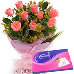 Pink Roses Bouquet with Cadbury Celebrations
