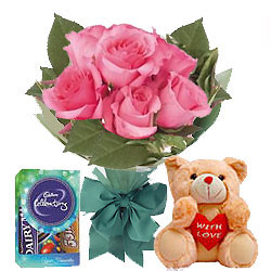 Pink Roses with Teddy and Chocolates