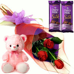 Red Roses with Teddy N Chocolates