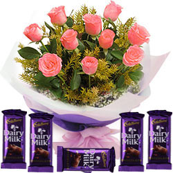 Cadbury Dairy Milk Chocolates with Pink Roses Bunch