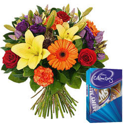 Mixed Flowers N Cadbury Mini Celebrations Combo