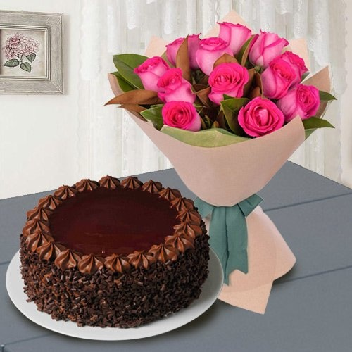 Pretty 12 Pink Roses with 1/2 Kg Chocolate Cake