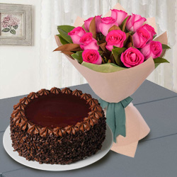 Shop Online Red Roses n Chocolate Cake