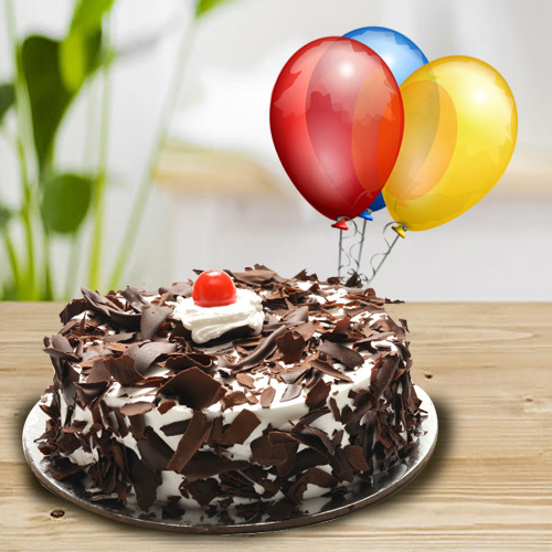 Colorful Balloons N Black Forest Cake