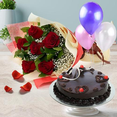Truffle Cake with Red Roses Bouquet and Balloons