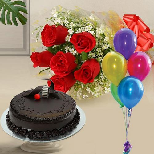 Chocolate Cake with Balloons N Red Roses Bunch