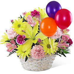Colorful Florals Basket with Balloons